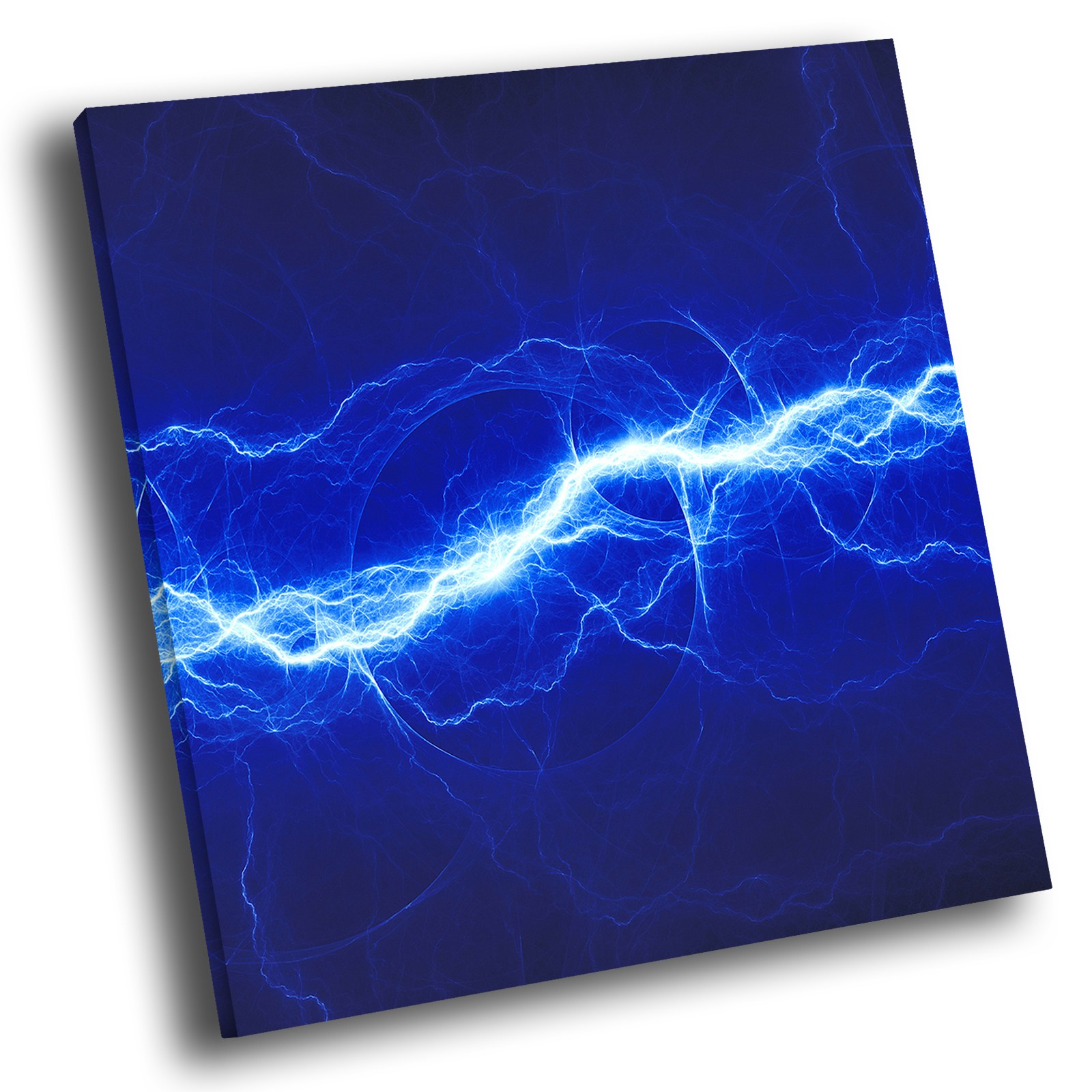 Details About Blue Lightning Cool Abstract Square Canvas Picture Modern Wall Art Print